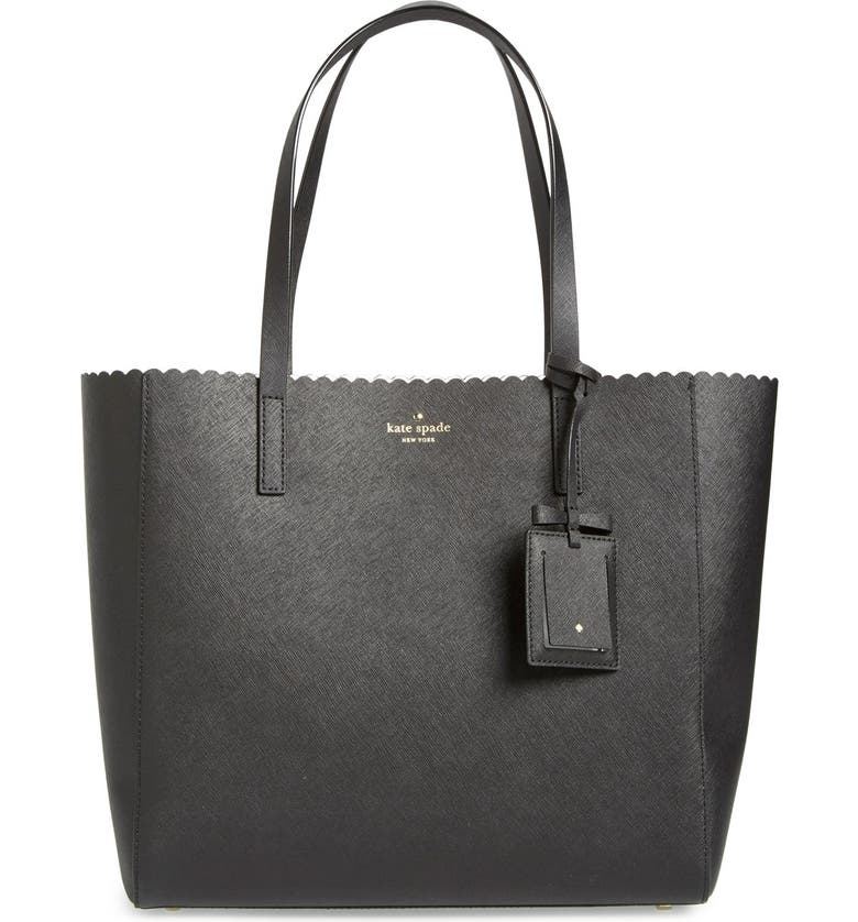 KATE SPADE NEW YORK 'cape drive - hallie' scalloped saffiano leather tote, Main, color, 002