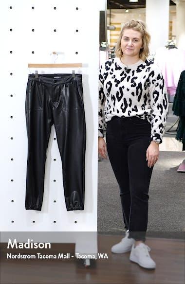 Faux Leather Ankle Jogger Pants, sales video thumbnail