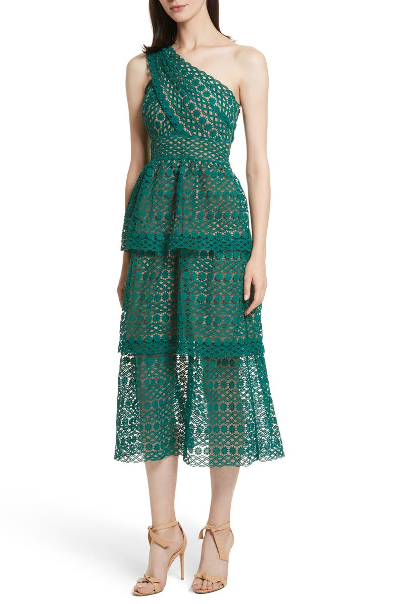 SELF-PORTRAIT Lace One-Shoulder Midi Dress, Main, color, 300