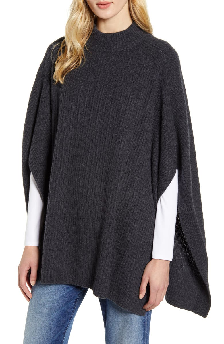 HALOGEN<SUP>®</SUP> Rib Cashmere Poncho, Main, color, GREY CHARCOAL HEATHER