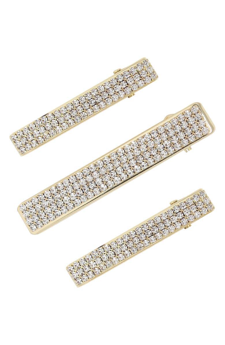 ETTIKA Set of 3 Crystal Hair Clips, Main, color, GOLD