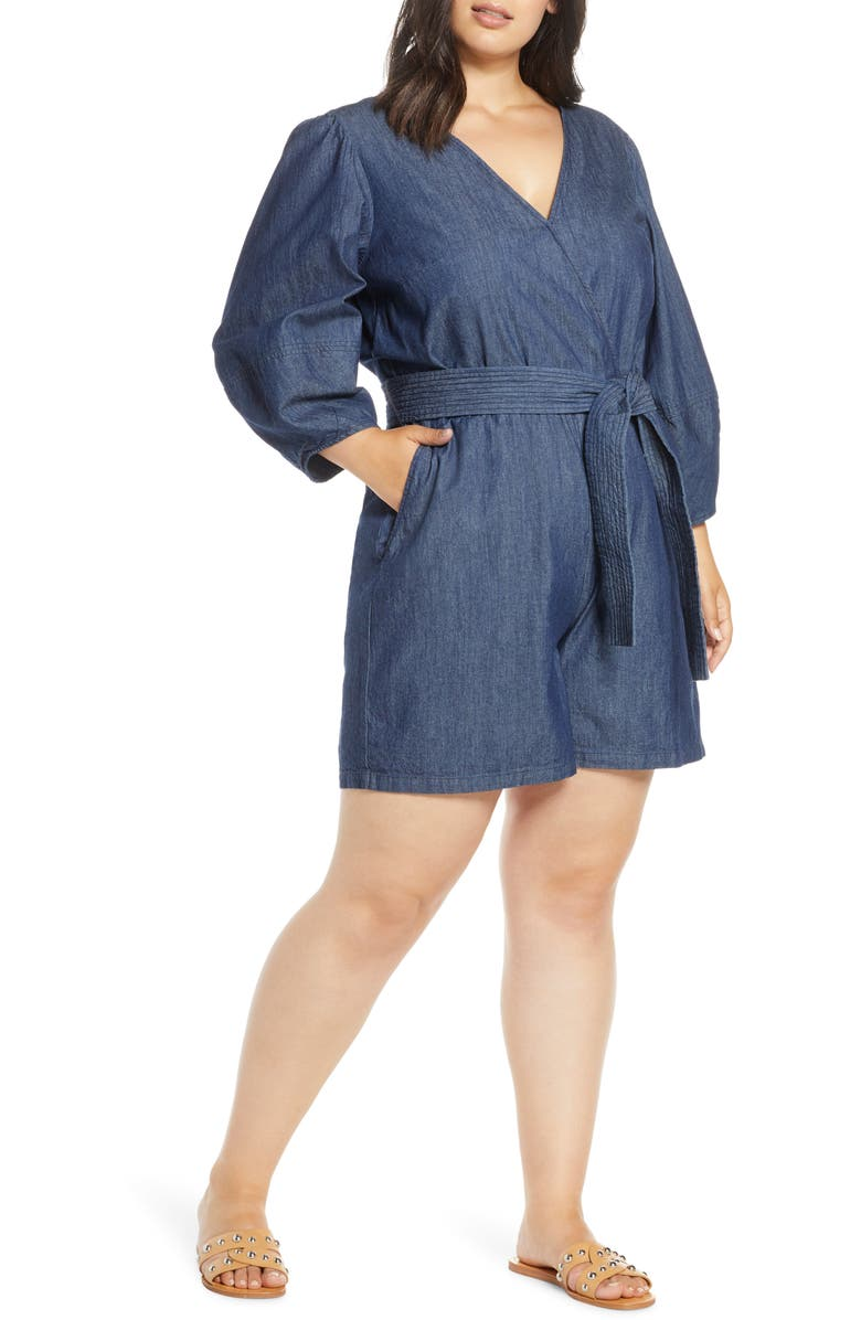 ELOQUII Trapunto Belt Chambray Romper, Main, color, DARK WASH