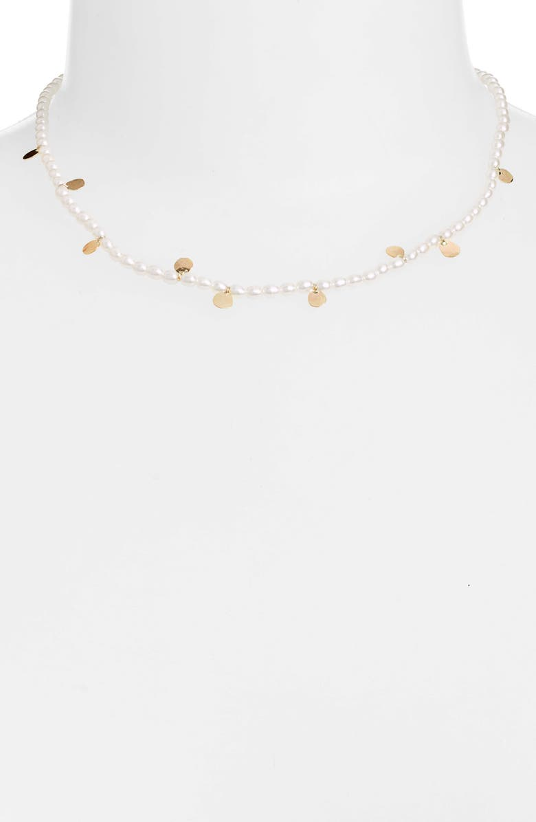 POPPY FINCH Keshi Pearl Gold Confetti Necklace, Main, color, PEARL/ YELLOW GOLD