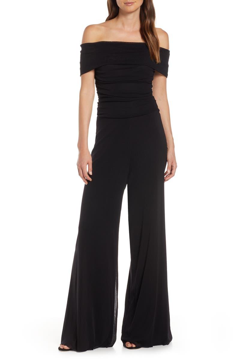 ELIZA J Ruched Bodice Off the Shoulder Mesh Jumpsuit, Main, color, BLACK