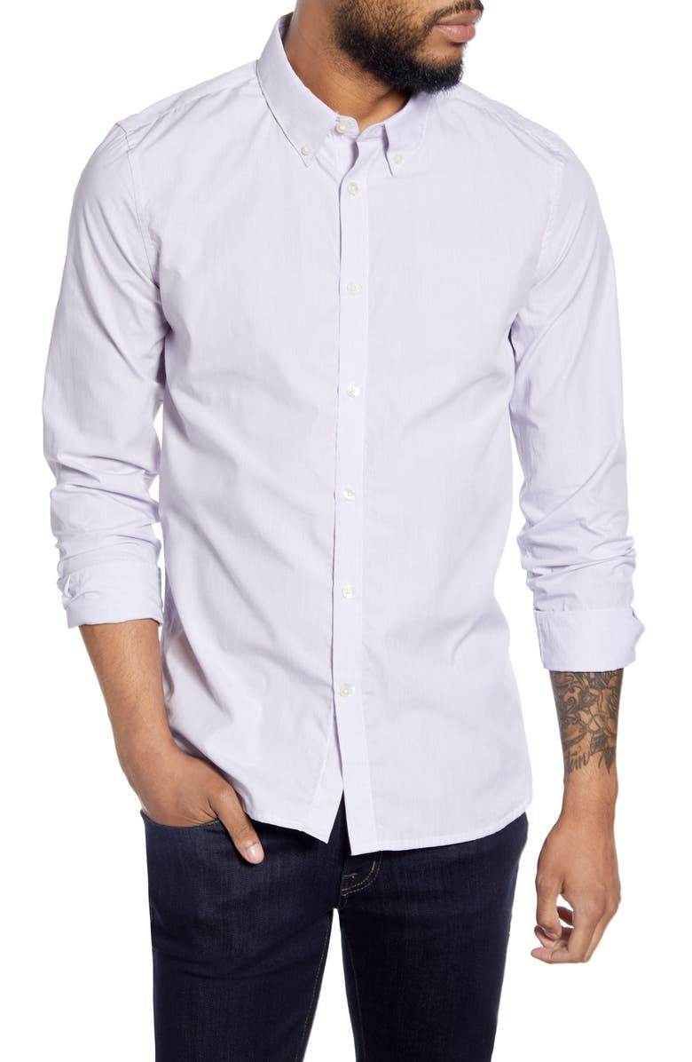 FRENCH CONNECTION Slim Fit Pinstripe Button-Down Shirt, Main, color, BLUE