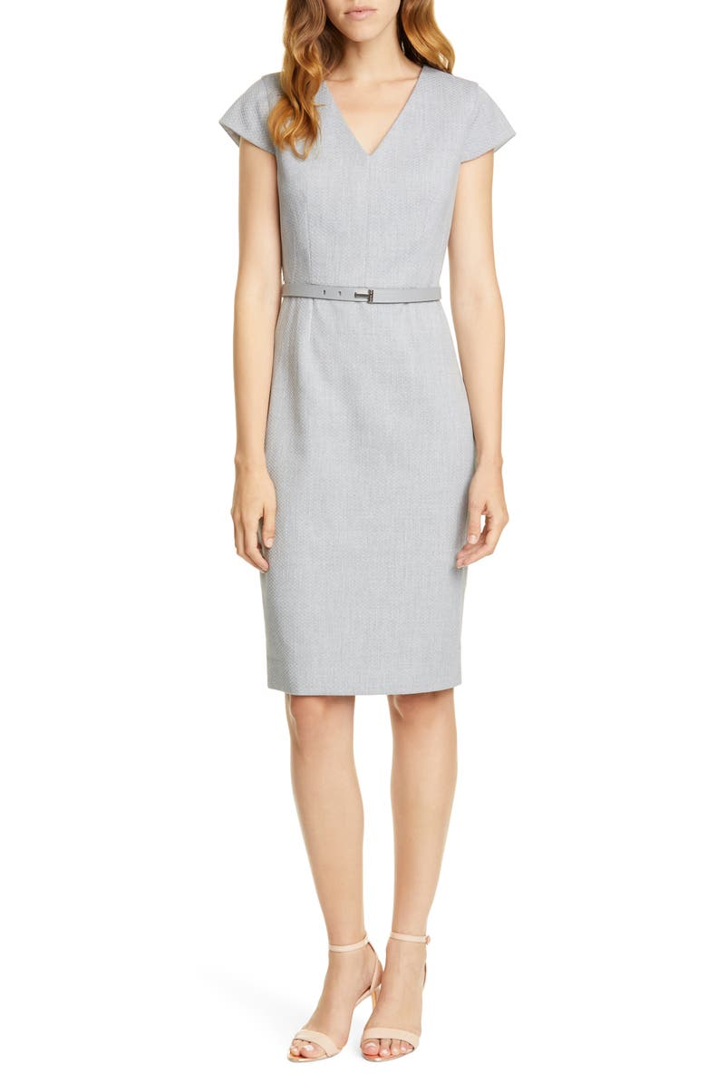 TED BAKER LONDON Michahd Belted Pencil Dress, Main, color, LIGHT GREY