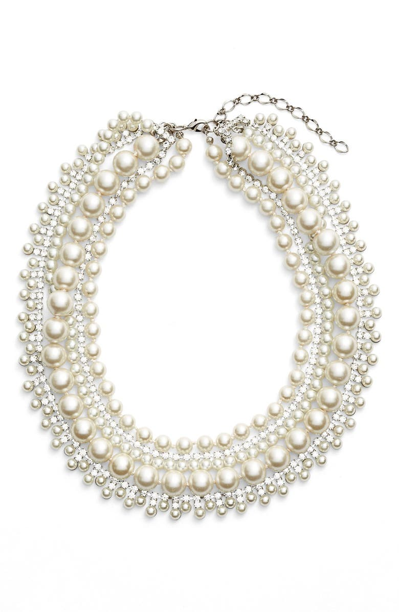 CRISTABELLE Crystal & Imitation Pearl Multristrand Necklace, Main, color, 900