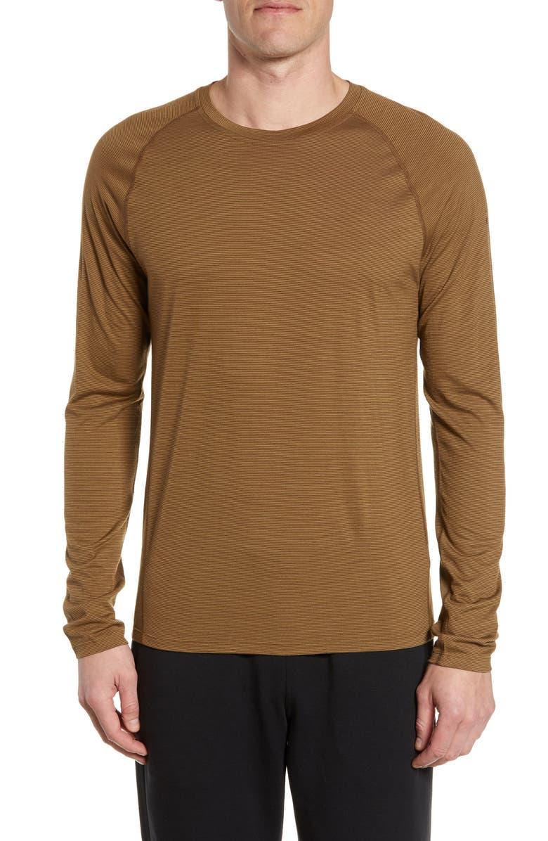 SMARTWOOL Stripe Merino Blend T-Shirt, Main, color, DARK DESERT SAND