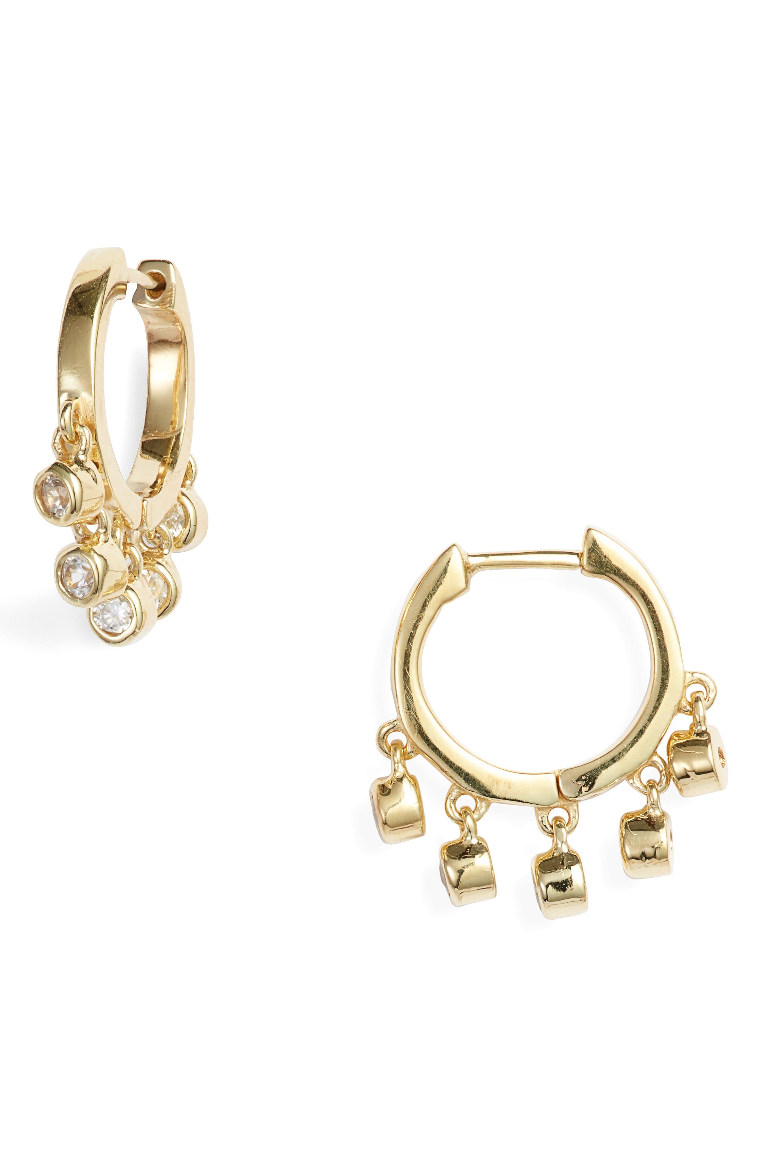 White Zircon Huggie Hoop Earrings