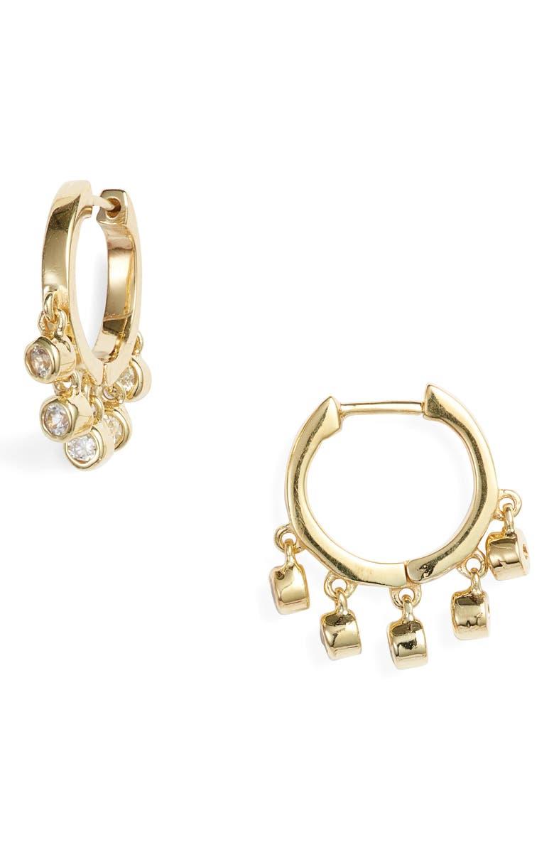 ELA RAE White Zircon Huggie Hoop Earrings, Main, color, GOLD