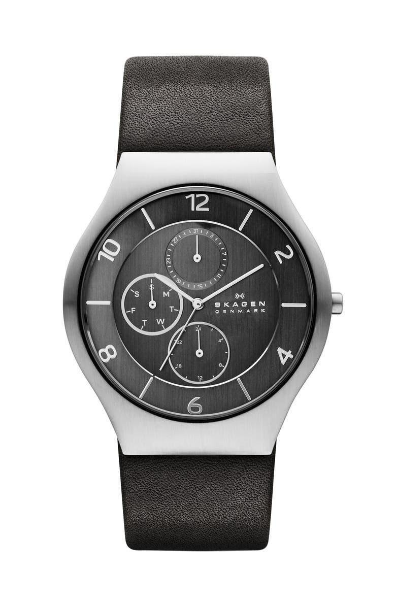 SKAGEN 'Grenen' Round Multifunction Leather Strap Watch, 41 mm, Main, color, 020