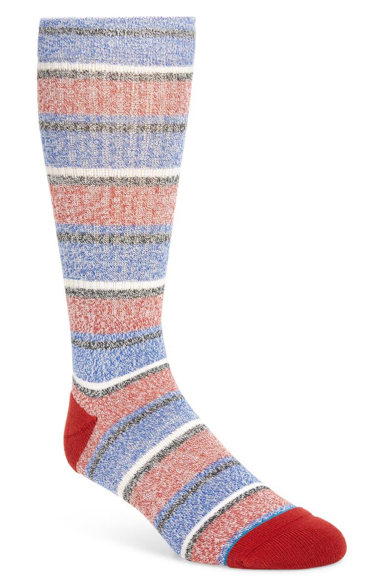 STANCE Noosa Stripe Socks, Main, color, RED