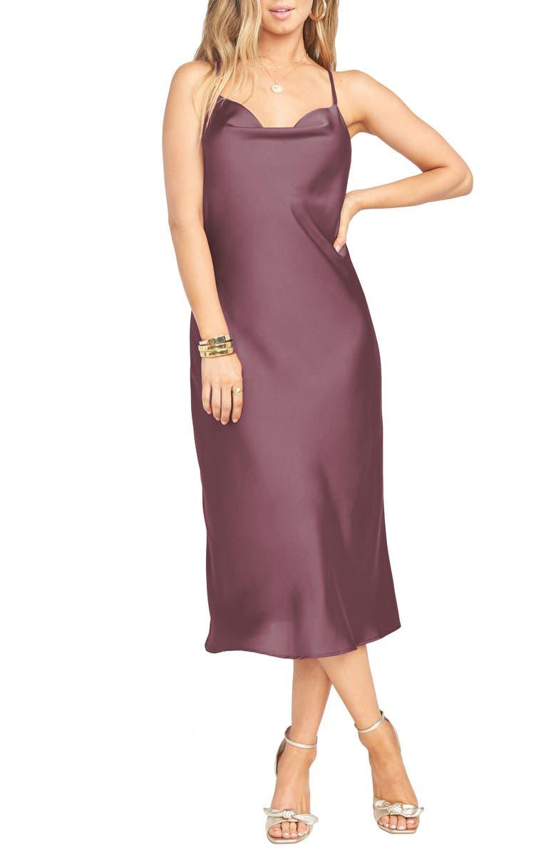 SHOW ME YOUR MUMU Verona Satin Slipdress, Main, color, DUSTY PLUM LUXE SATIN