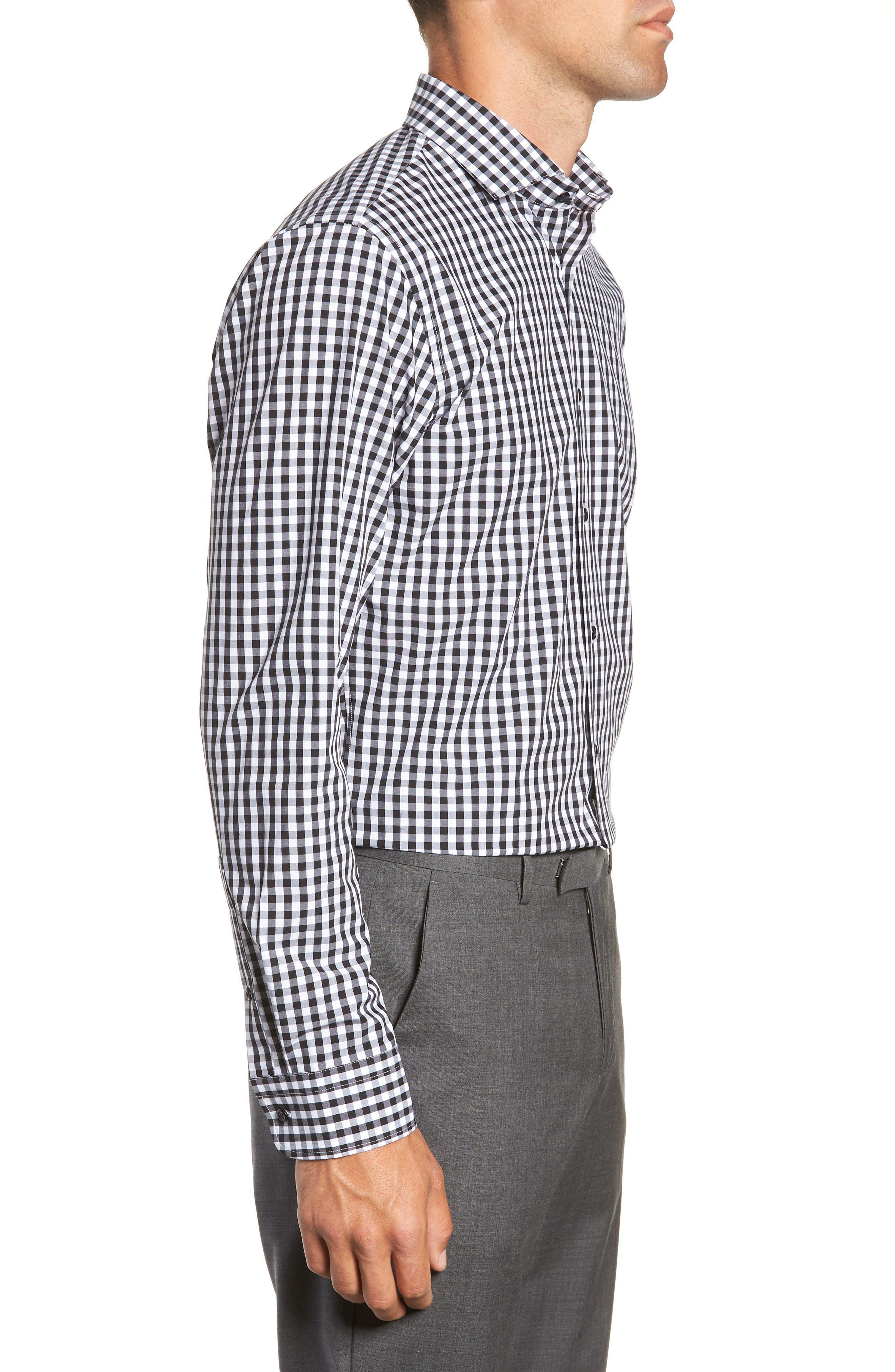 ,                             Tech-Smart Trim Fit Stretch Check Dress Shirt,                             Alternate thumbnail 4, color,                             001