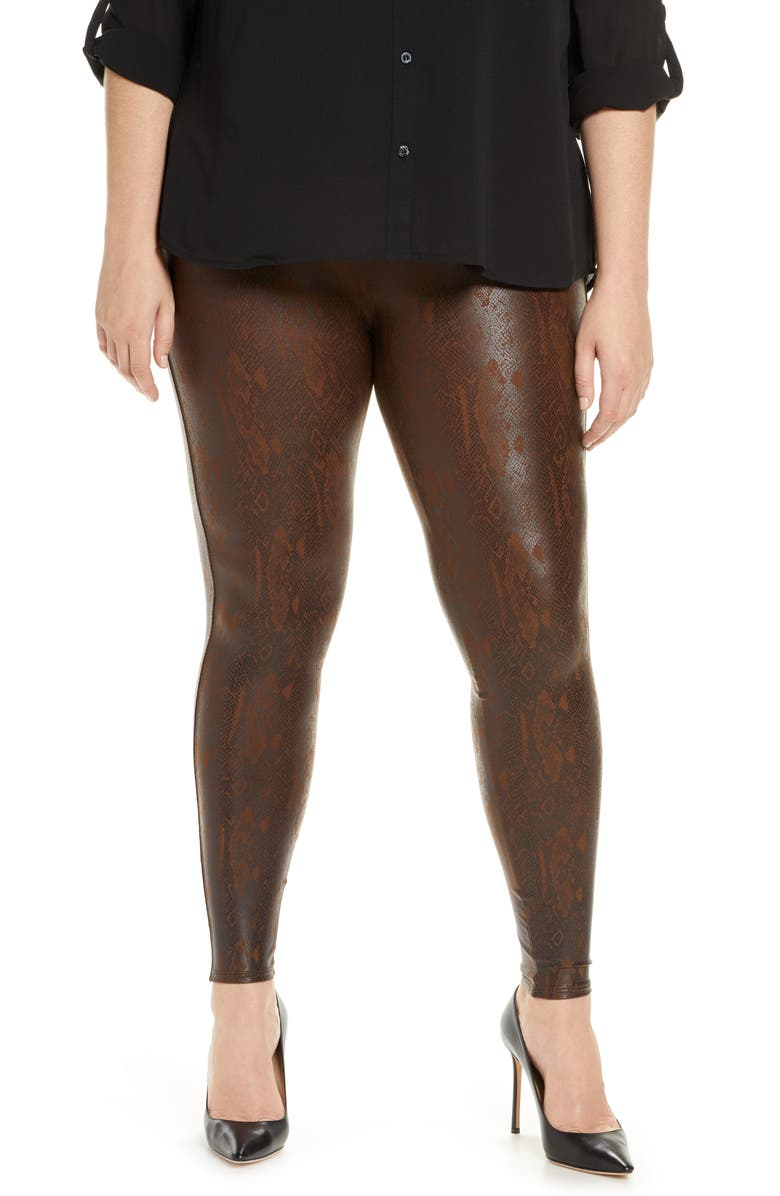 SPANX<SUP>®</SUP> Snakeskin Print Faux Leather Leggings, Main, color, BROWN SNAKESKIN