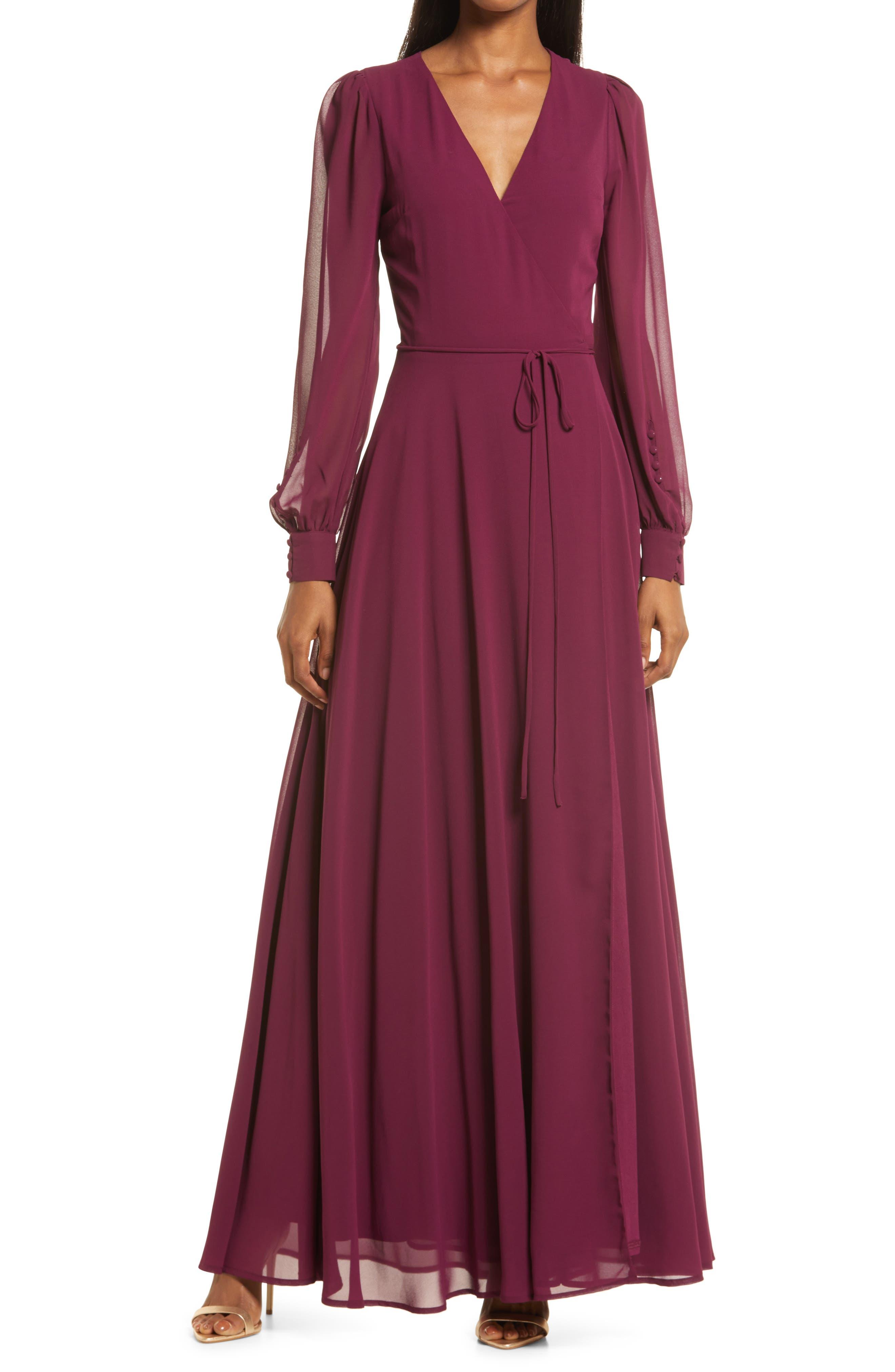 70s Sequin Dresses, Disco Dresses Womens Lulus My Whole Heart Long Sleeve Wrap Gown Size Medium - Burgundy $74.00 AT vintagedancer.com
