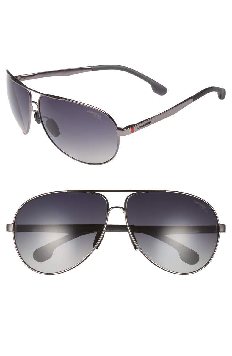CARRERA EYEWEAR 66mm Polarized Sunglasses, Main, color, MATTE DARK RUTHENIUM