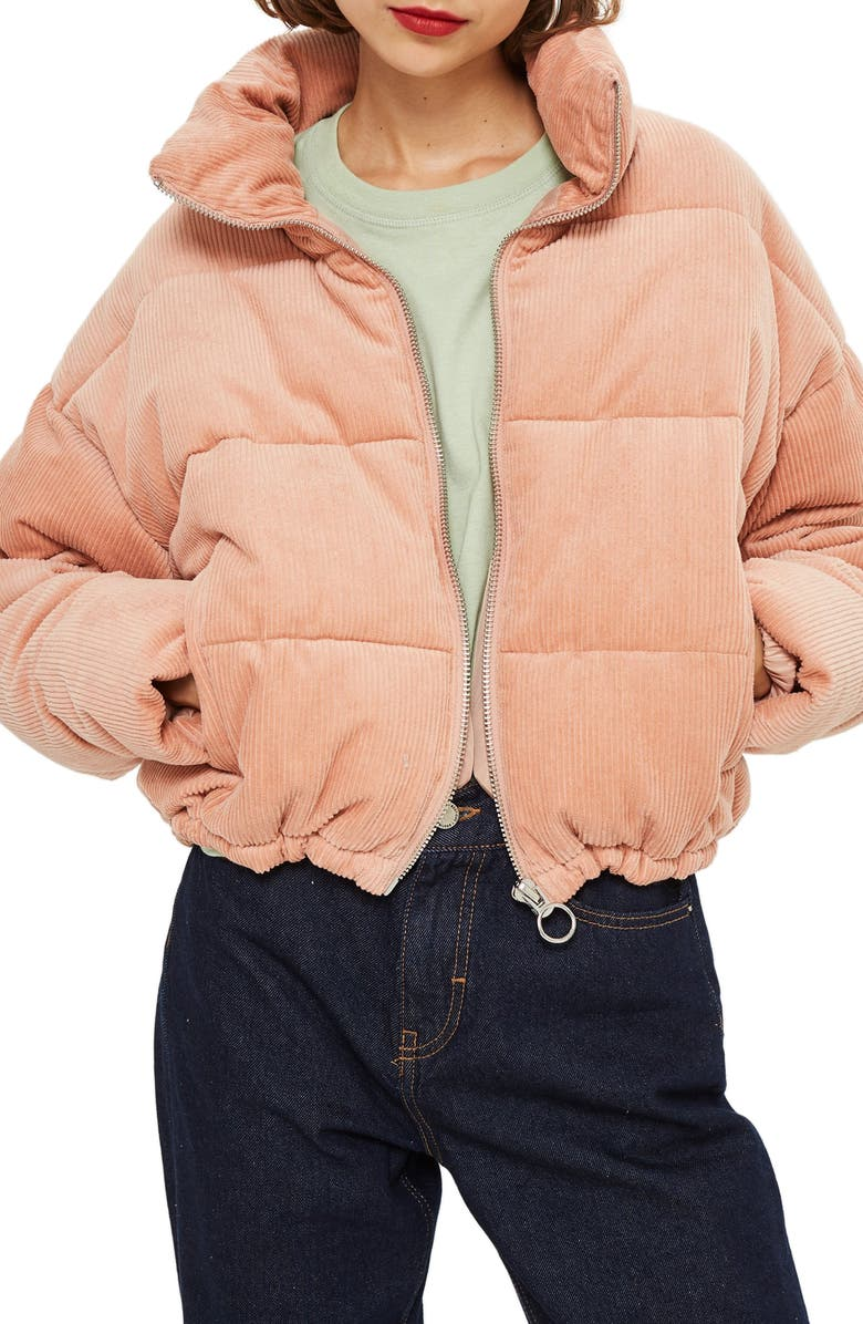 TOPSHOP Corduroy Puffer Jacket, Main, color, 650