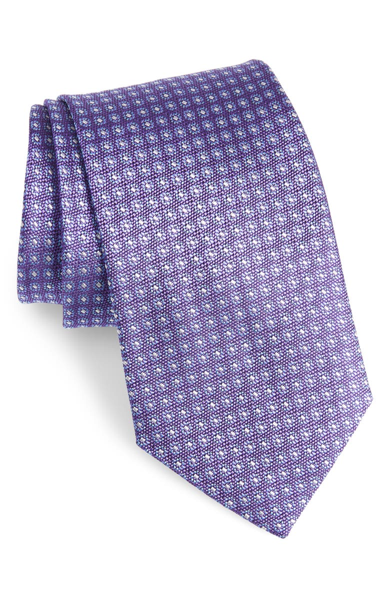 DAVID DONAHUE Geometric Silk X-Long Tie, Main, color, PURPLE