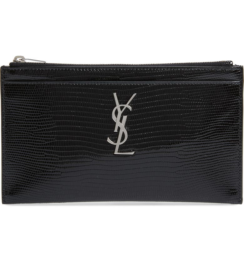 SAINT LAURENT Lizard Embossed Leather Zip Pouch, Main, color, NOIR