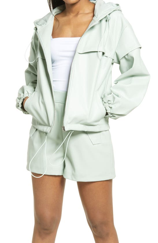 Kendall + Kylie Faux Leather Front Zip Hooded Jacket In Mint