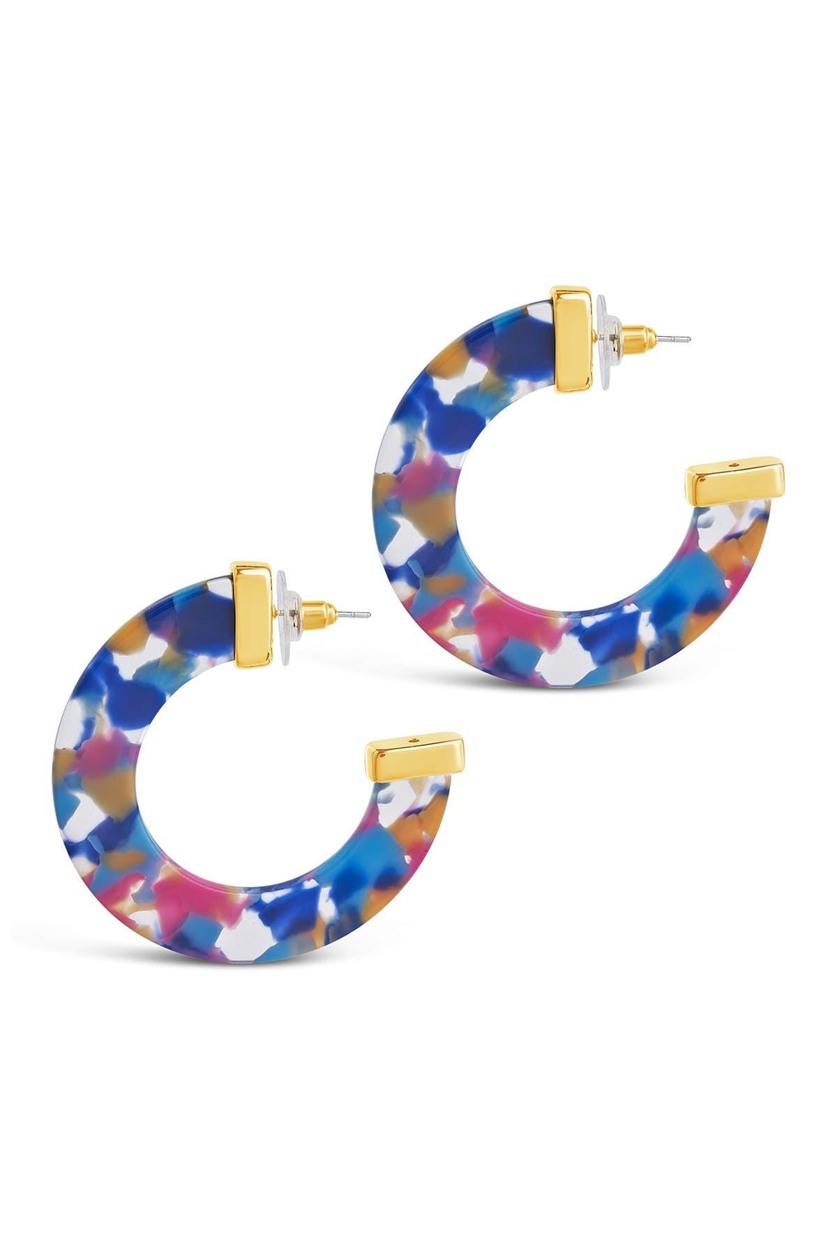 Sterling Forever Retro Resort 50mm Resin Hoop Earrings