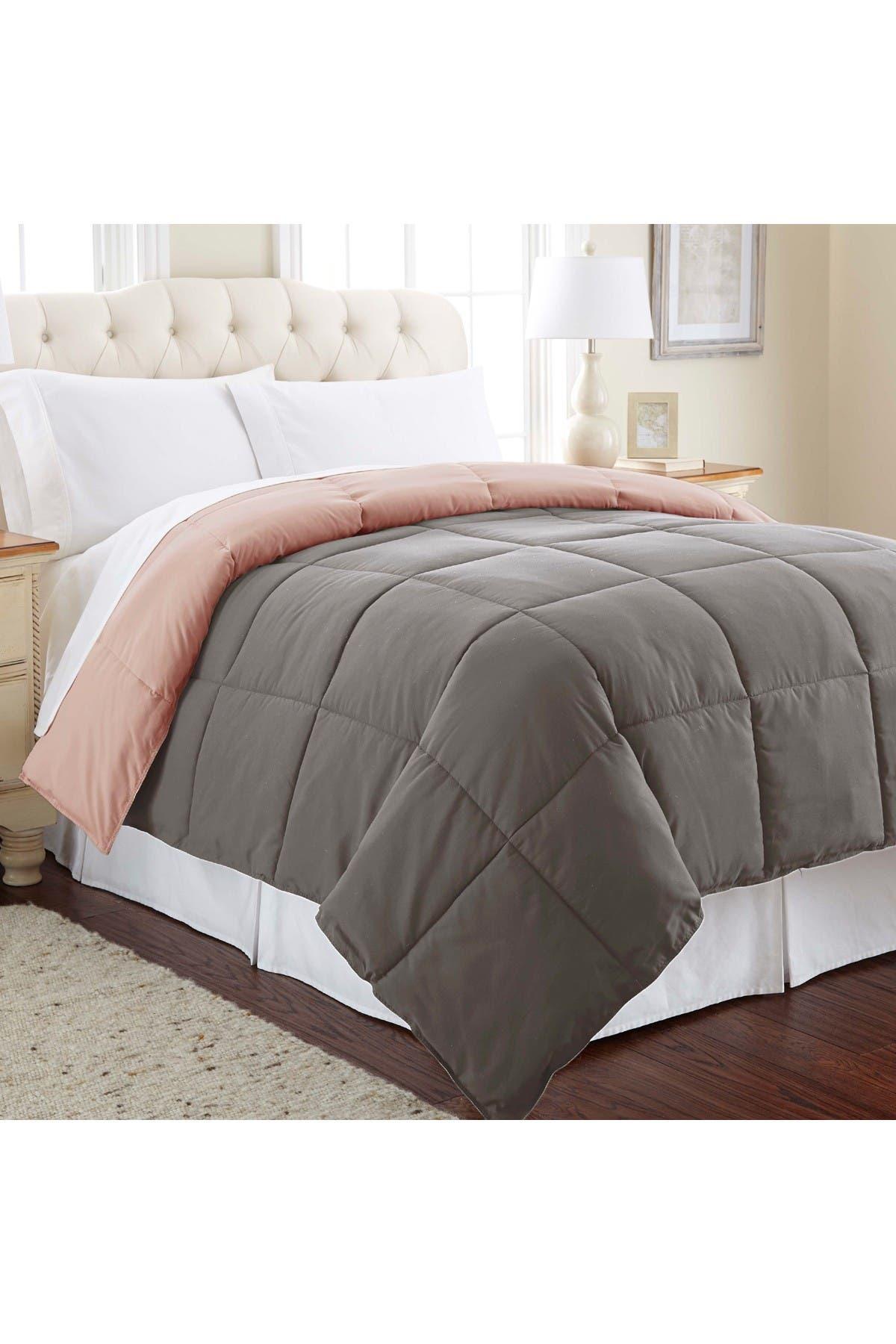 Image of Modern Threads King Down Alternative Reversible Comforter - Charcoal/Misty Rose