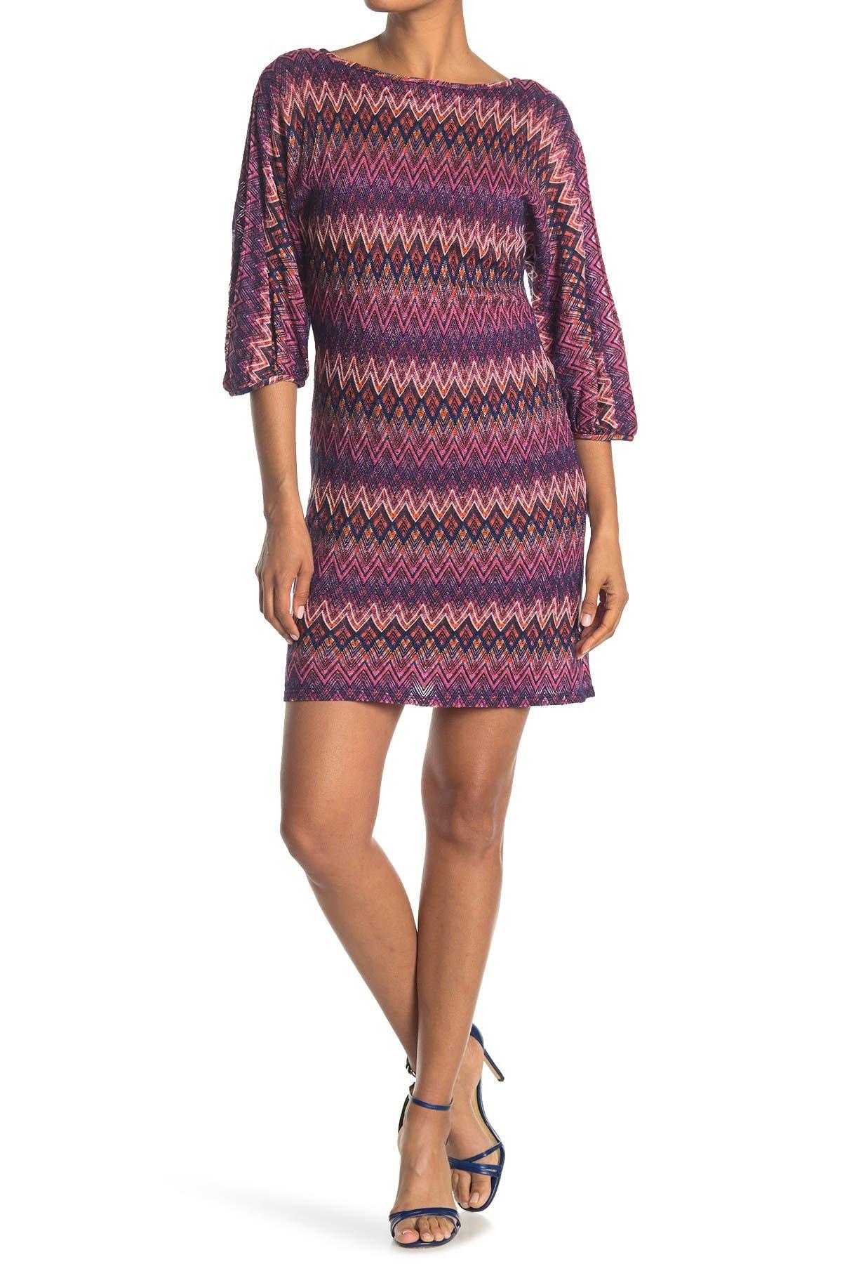 Image of Trina Turk Nature Pattern Quarter Sleeve Dress