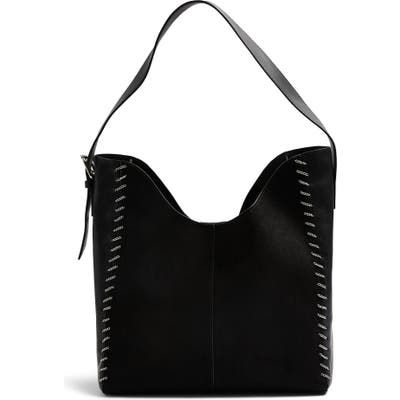 Topshop Halo Chain Faux Leather Hobo Bag - Black