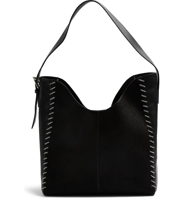 Top Halo Chain Faux Leather Hobo