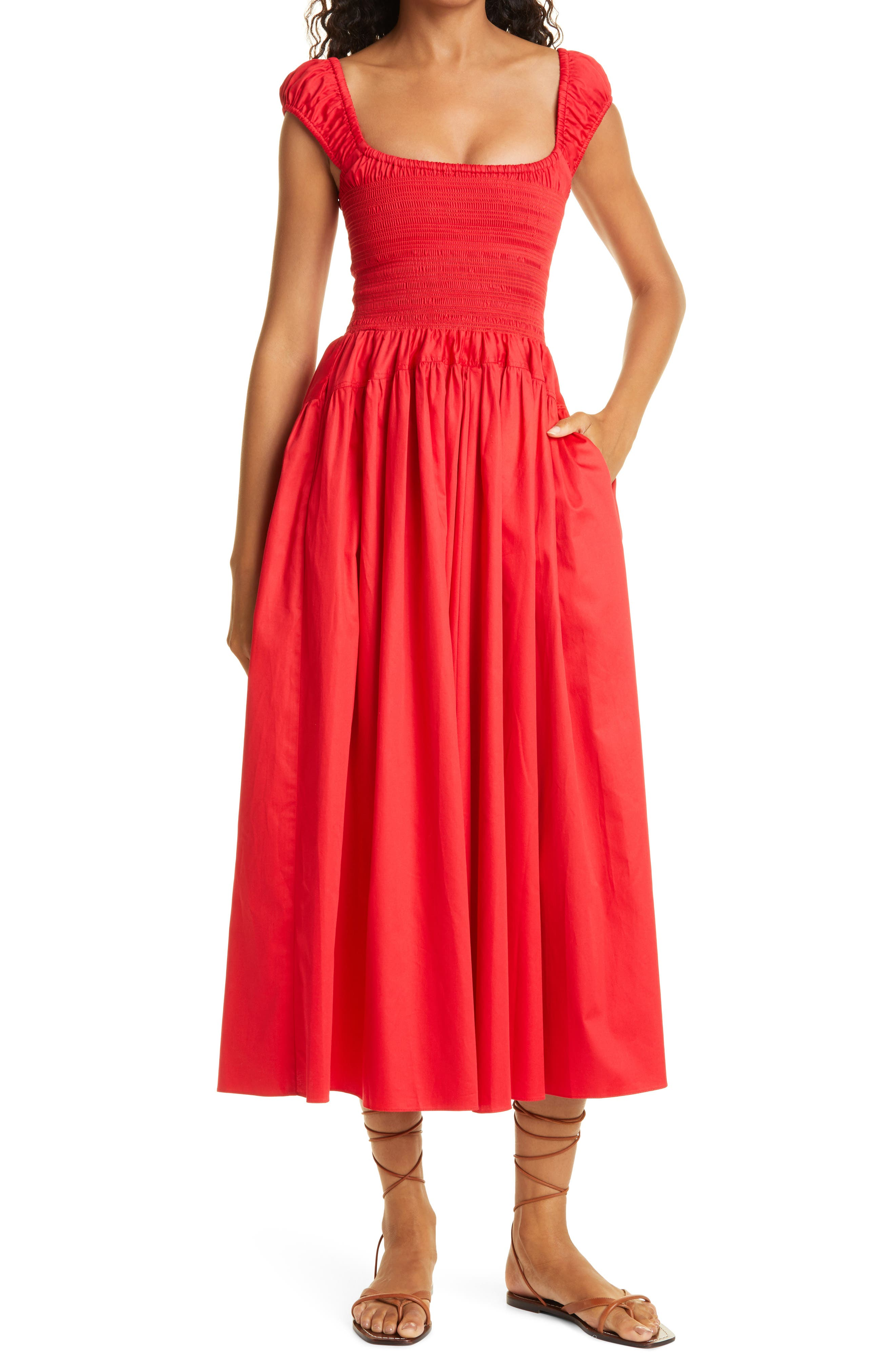 Smock Bodice Cap Sleeve Cotton Dress