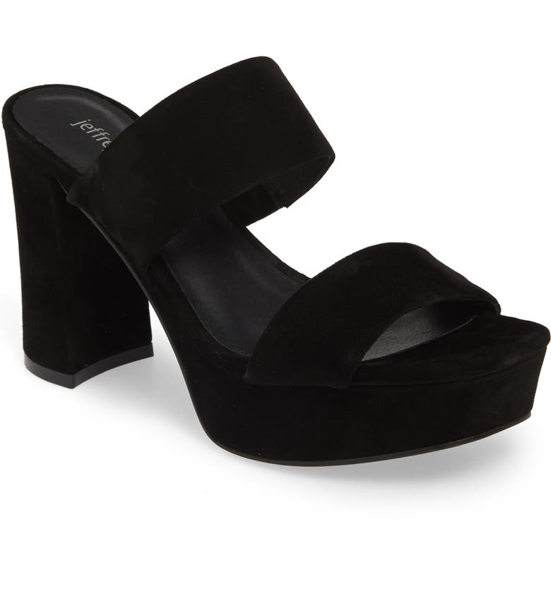 JEFFREY CAMPBELL Adriana-2 Platform Slide Sandal, Main, color, BLACK SUEDE