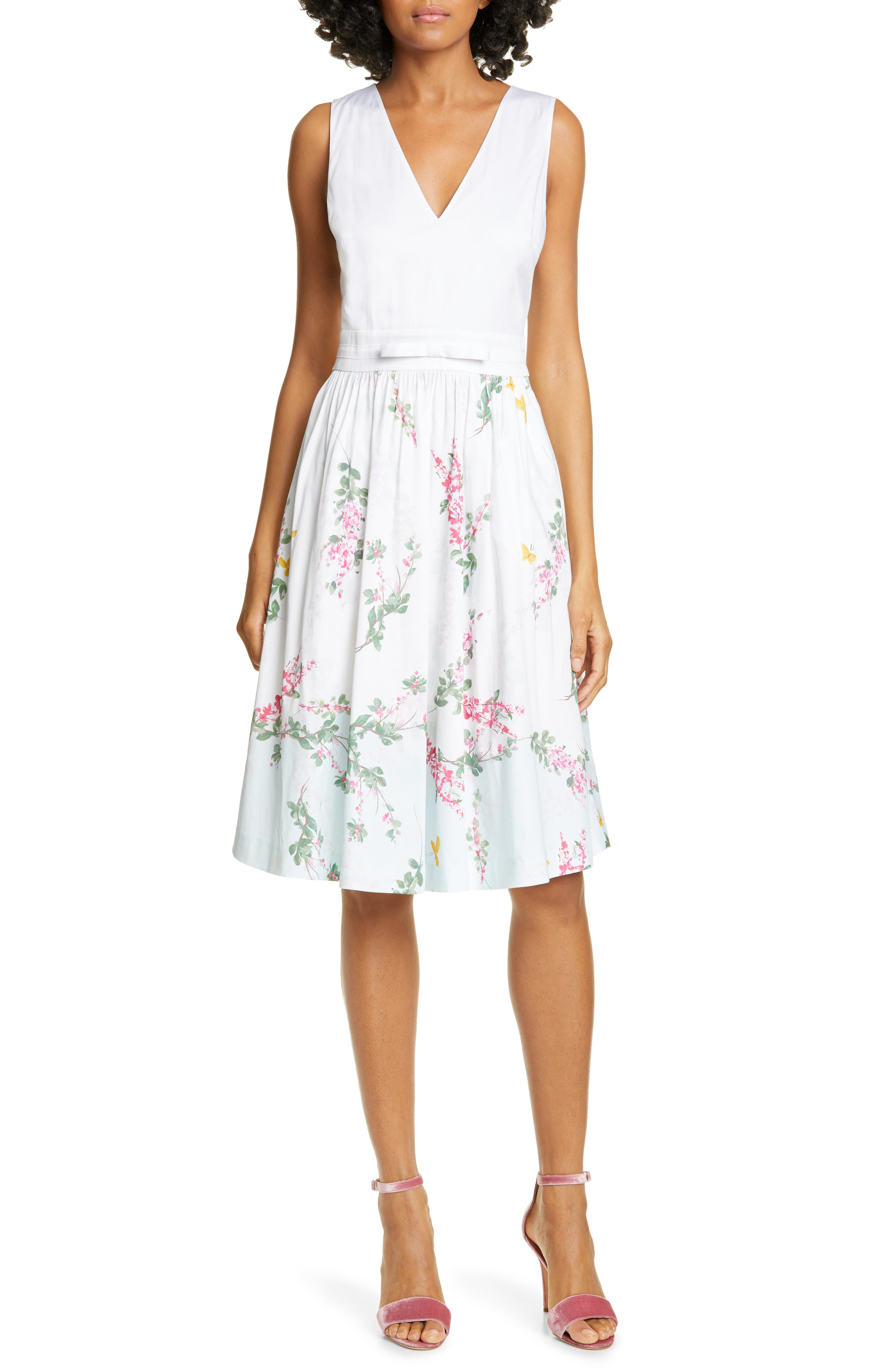 Ted Baker London Reyyne Bow Detail Sleeveless Stretch Cotton Dress, White