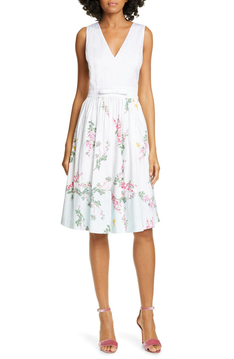 TED BAKER LONDON Reyyne Bow Detail Sleeveless Stretch Cotton Dress, Main, color, WHITE