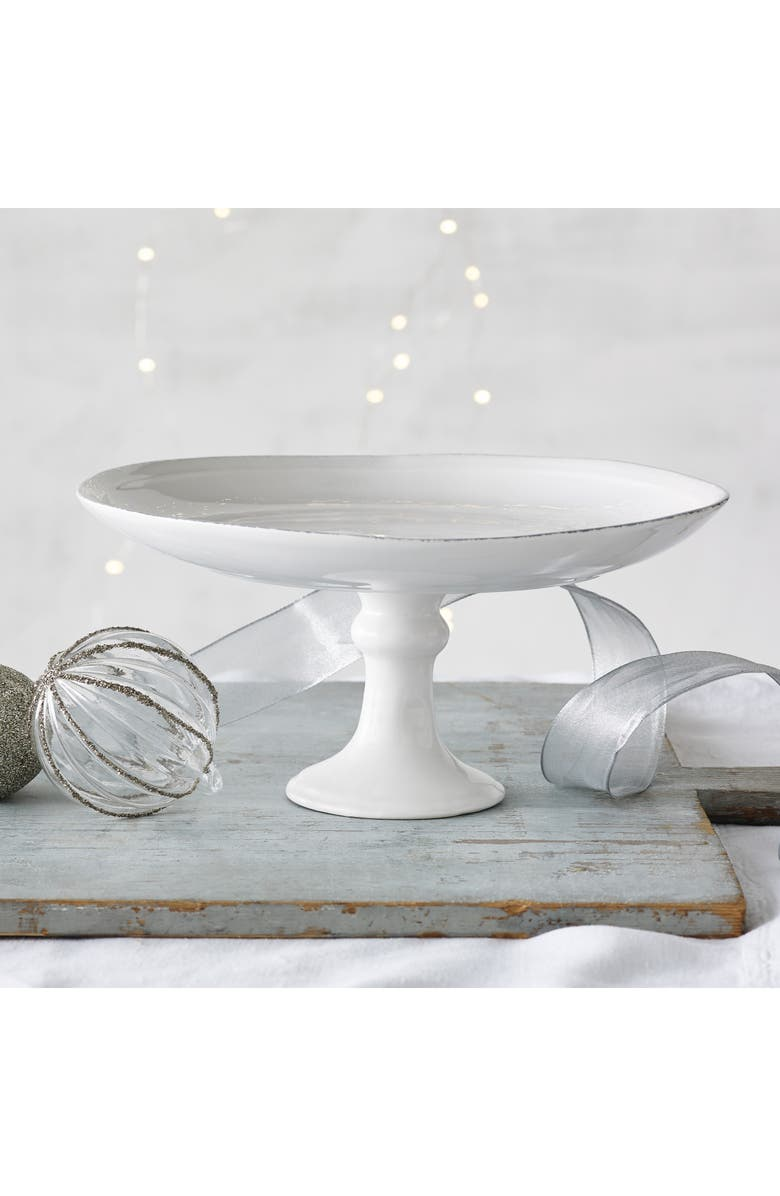 THE WHITE COMPANY Stoneware Cake Stand, Main, color, WHITE