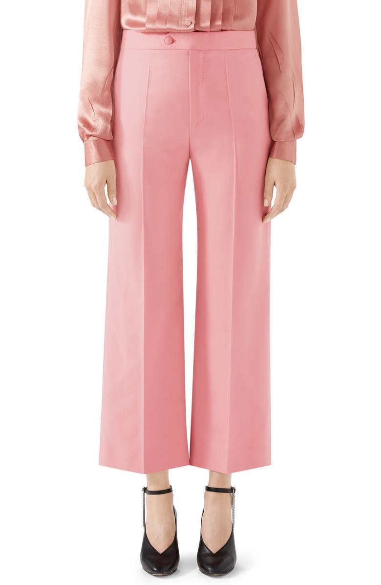 GUCCI Wool Crop Pants, Main, color, HOPEFUL PINK