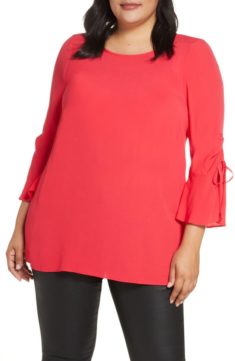 ESTELLE Jewel Bow Sleeve Blouse, Main, color, RASPBERRY
