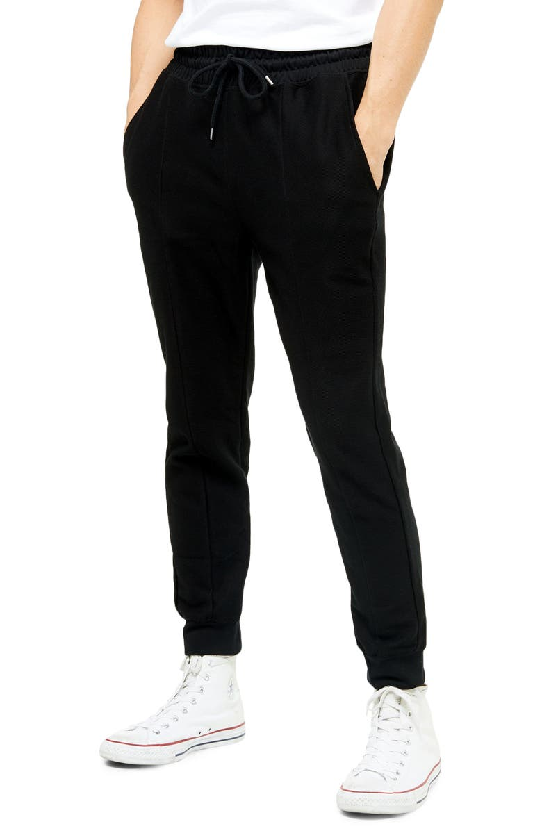 TOPMAN Skinny Fit Twill Jogger Pants, Main, color, BLACK
