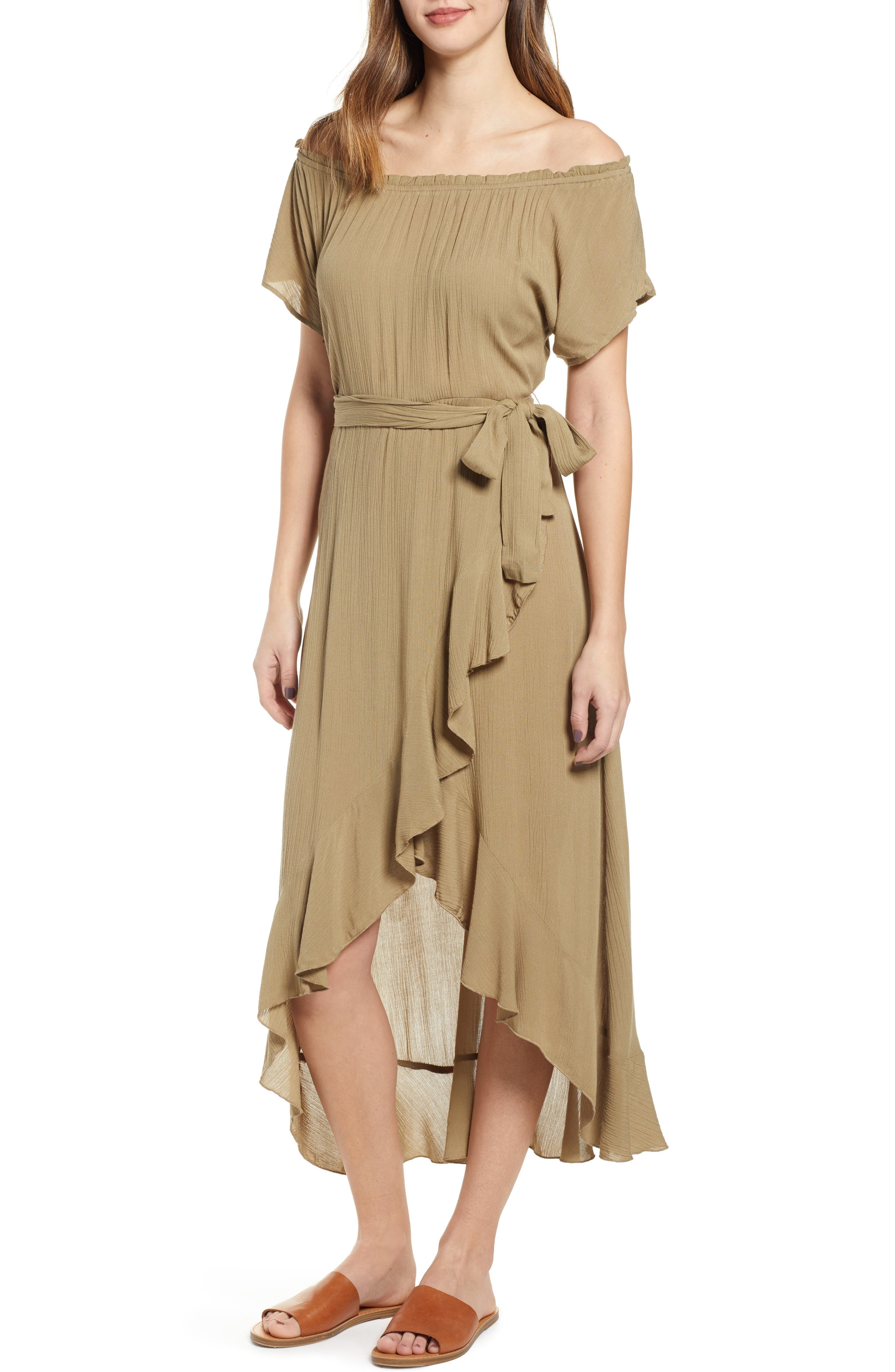 92aac479085 O'Neill Connie Off The Shoulder Midi Dress, Green