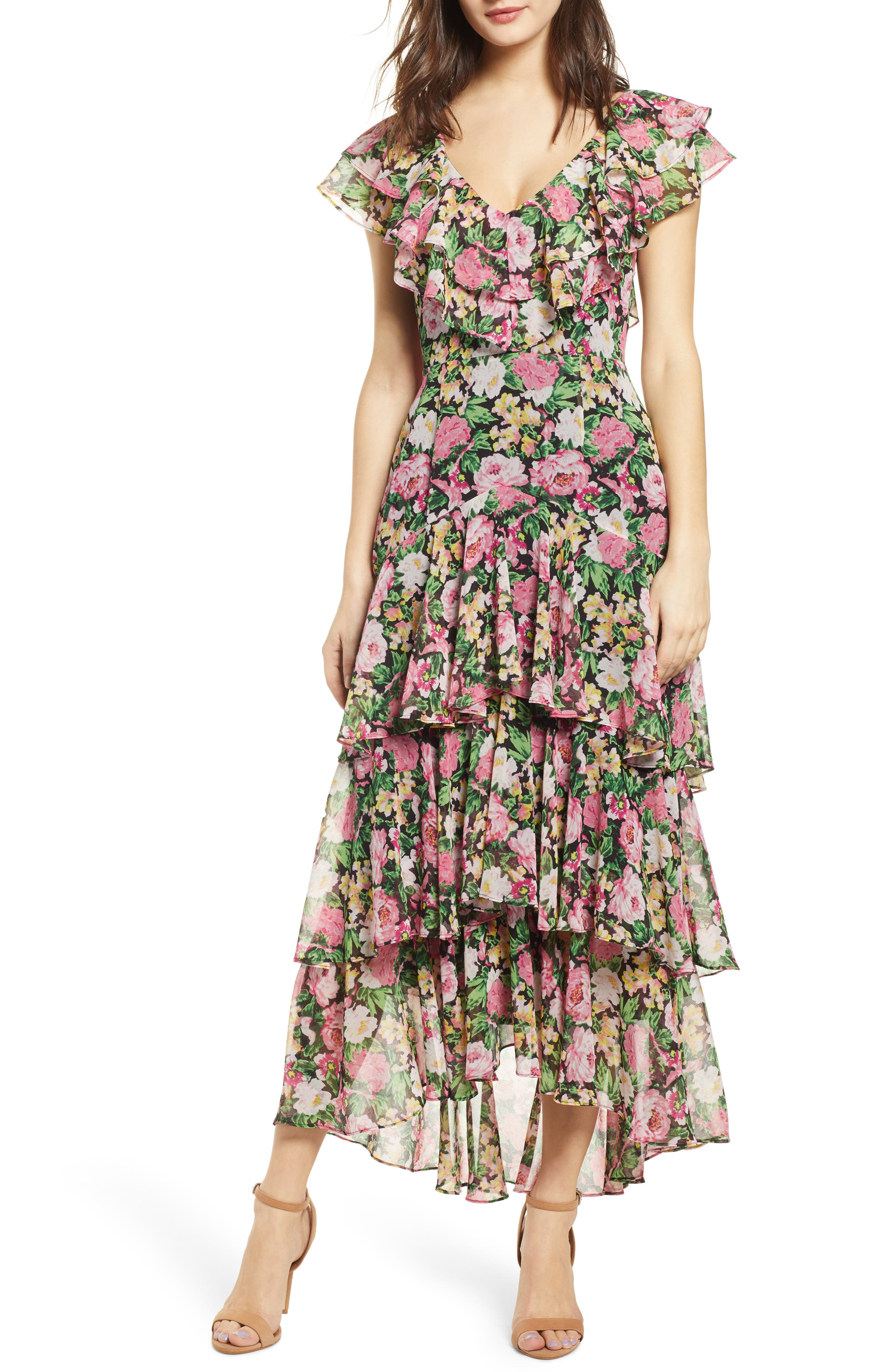 ,                             Chelsea Tiered Ruffle Maxi Dress,                             Main thumbnail 1, color,                             BLACK PINK ROSES PRINT