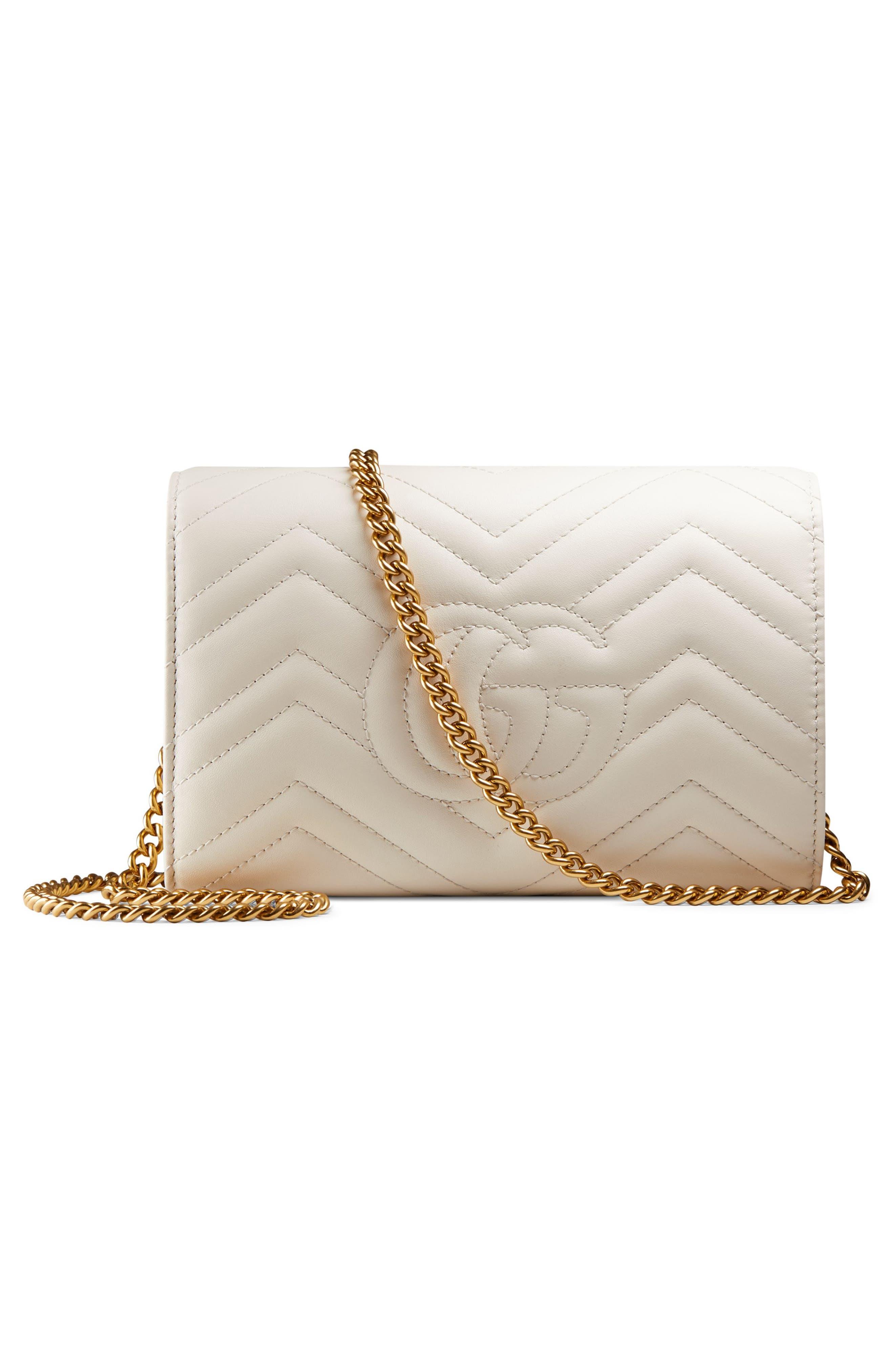 ,                             GG Marmont Matelassé Leather Wallet on a Chain,                             Alternate thumbnail 2, color,                             MYSTIC WHITE/ MYSTIC WHITE