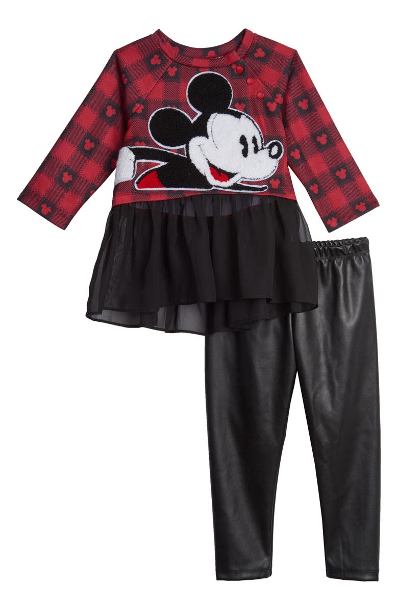 PIPPA & JULIE X Disney<sup>®</sup> Mickey Mouse Plaid Top & Faux Leather Leggings Set, Main, color, RED/ BLACK
