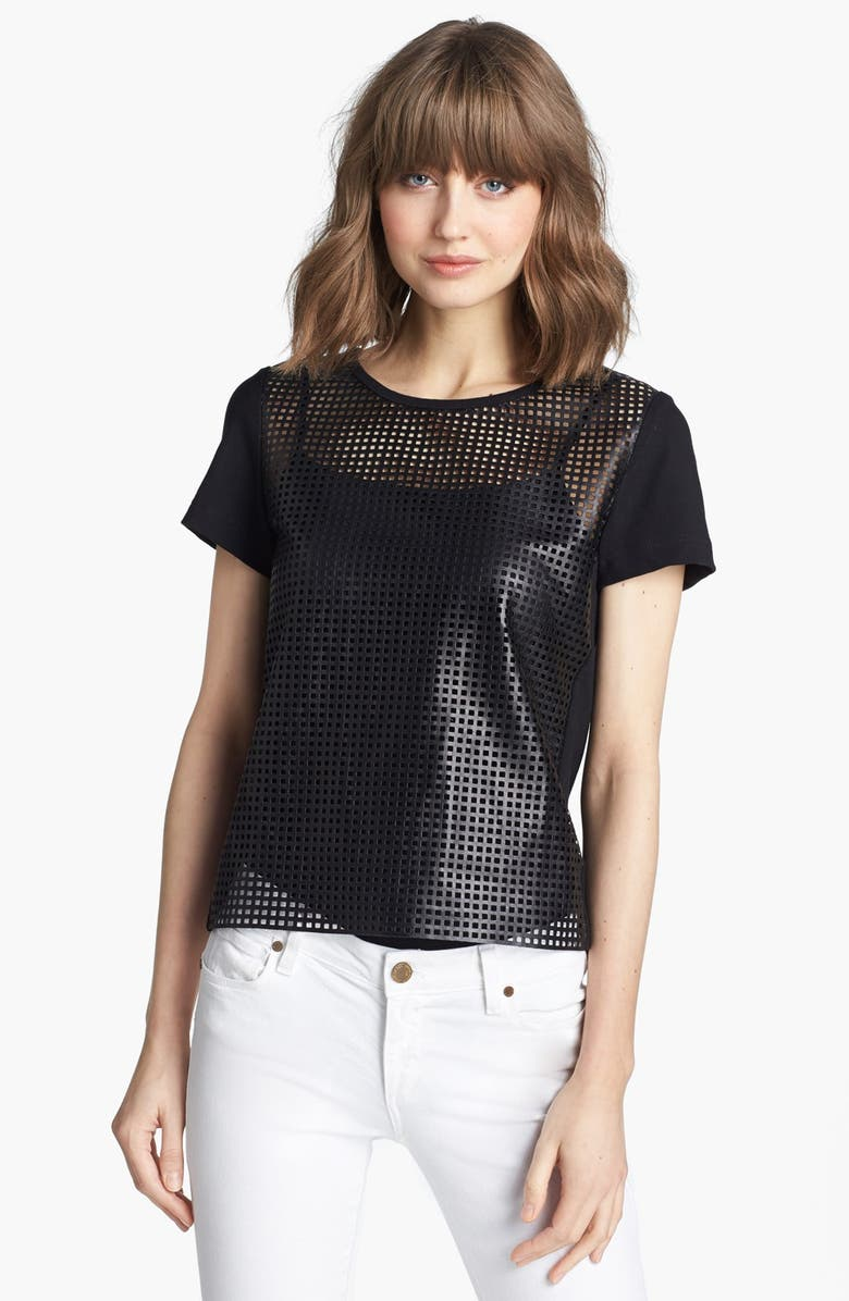 TROUVÉ Perforated Leather Tee, Main, color, 001