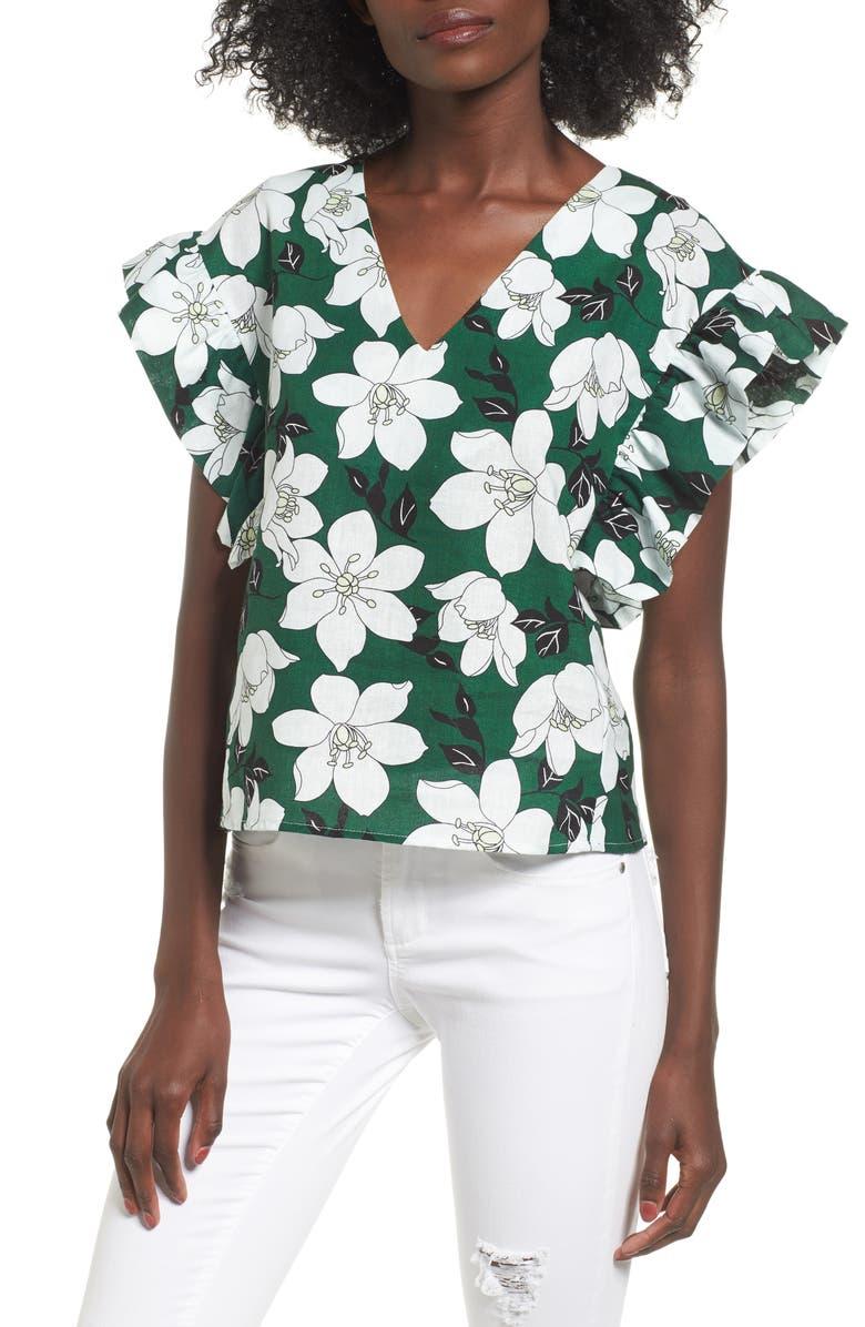 J.O.A. Floral Flutter Sleeve Top, Main, color, 360