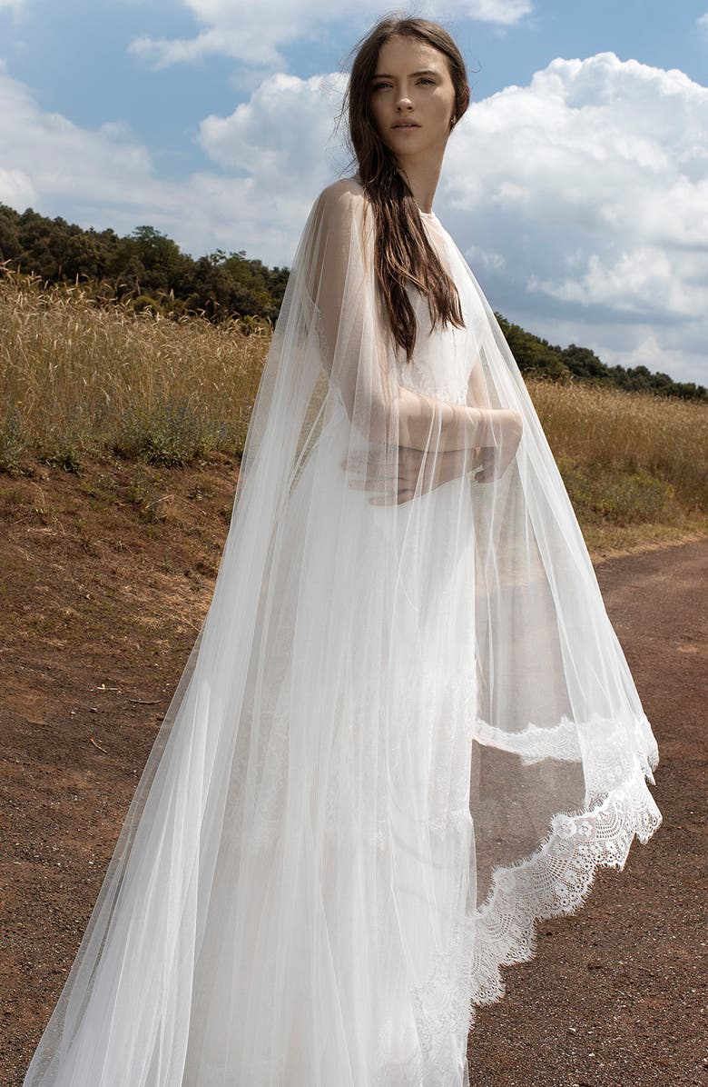 INMACULADA GARCÍA Lace Trim Tulle Cape, Main, color, IVORY