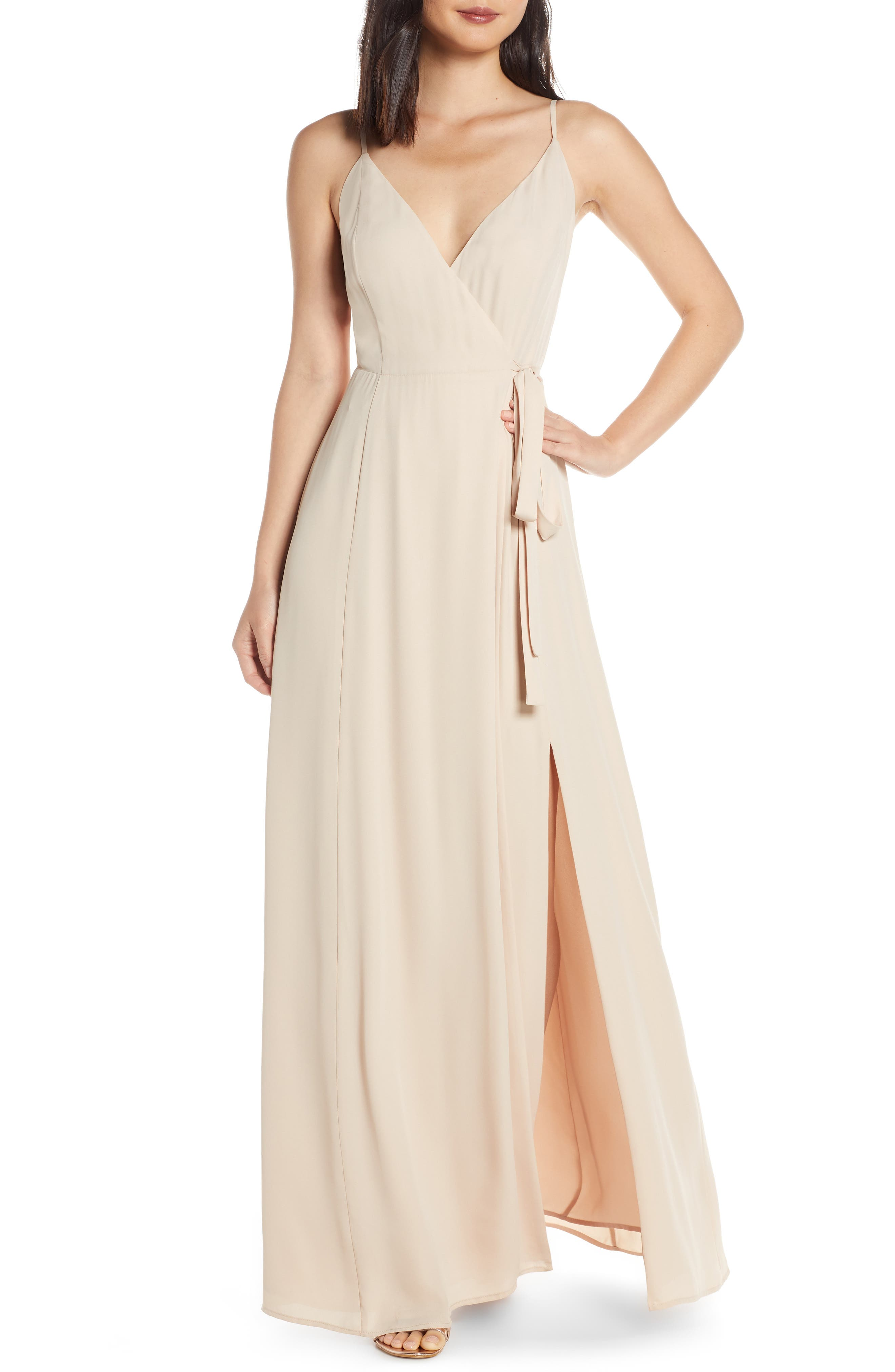 The Angelina Slit Wrap Gown, Main, color, CHAMPAGNE