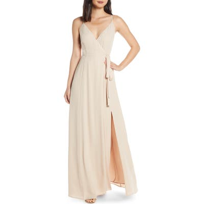 Wayf The Angelina Slit Wrap Gown, Beige