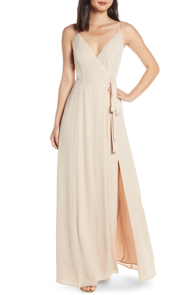 WAYF The Angelina Slit Wrap Gown, Main, color, CHAMPAGNE