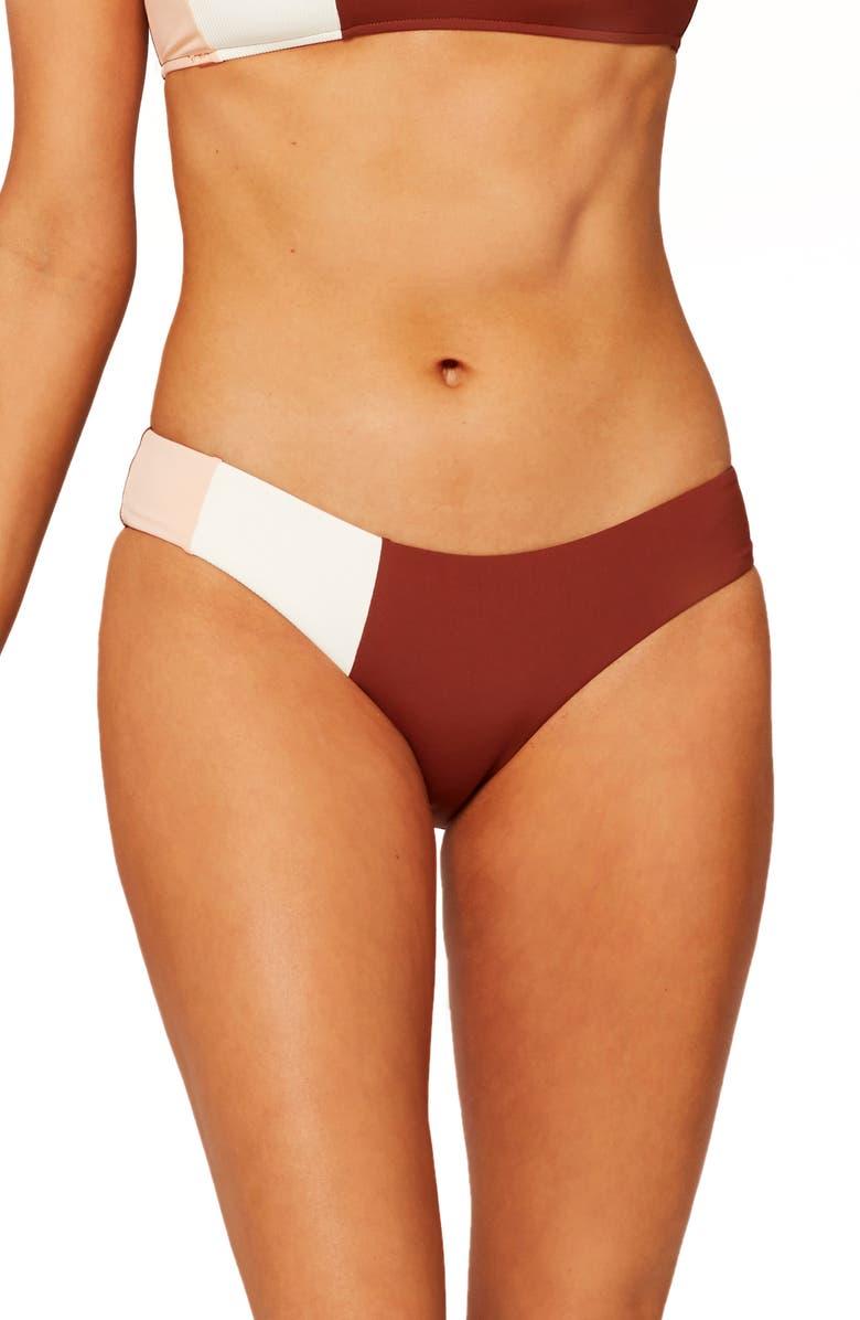 L SPACE Kas Colorblock Bikini Bottoms, Main, color, CREAM/ DESERT ROSE/ TOBACCO