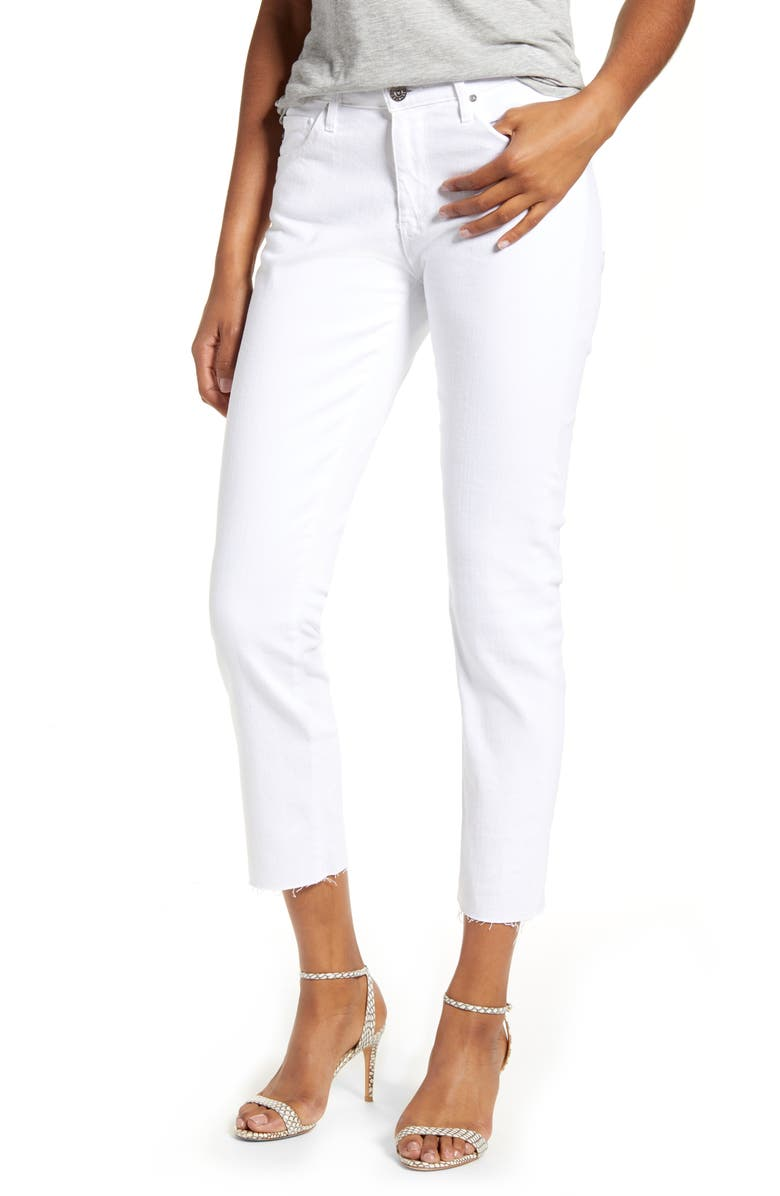 AG Prima Raw Hem Crop White Jeans, Main, color, WHITE